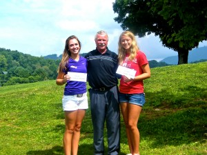 Coach Rick with scholarship awardees Ashley Thompson (L) and Erin Campbell (R)