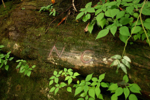 Ellicott's Rock marked by Andrew Ellicott  in 1811 when he was surveying the boundary between NC (N) & GA (G) wikimedia commons photo